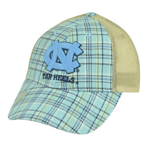 NCAA North Carolina Tar Heels Blue Plaid Mesh Snapback Hat Cap Adjustable Sport