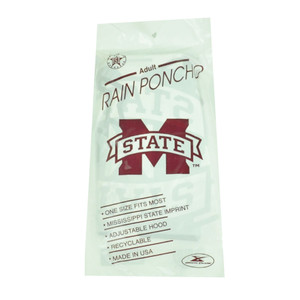 NCAA Mississippi State Bulldogs Adult Rain Poncho Hooded Storm Weather One Size