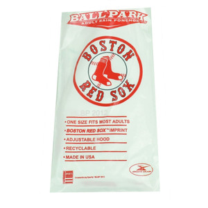 MLB Boston Red Sox Adult Rain Poncho Hooded White Weather Storm One Size Game