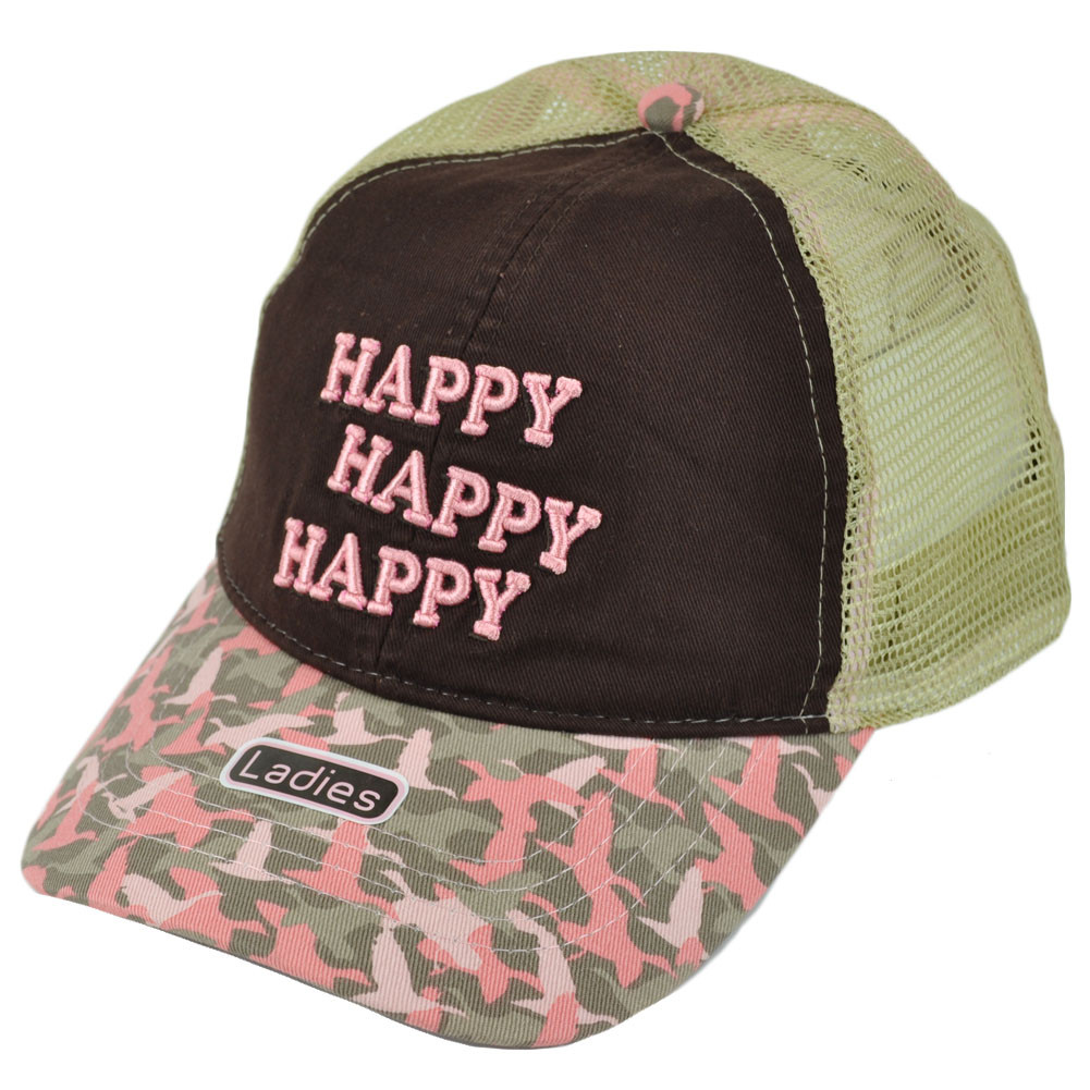A E Duck Dynasty Happy Mesh Women Ladies Trucker Garment Wash ... baa3f2c22fc6