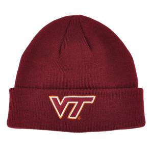 NCAA Virginia Tech Hokies Cuffed Logo Basic Beanie Knit Toque Winter Hat Maroon