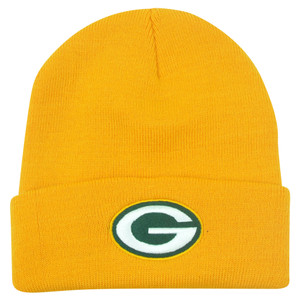 NFL Green Bay Packers Rice Cuffed Knit Beanie Youth Hat Football Winter Yellow