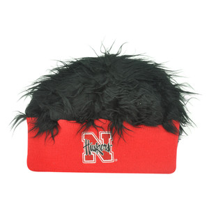 NCAA Nebraska Cornhuskers Husker Sizzle Faux Fur Flair Hair Knit Cuffless Beanie