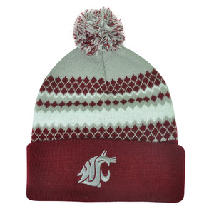 NCAA Washington State Cougars Toque Pom Pom Knit Beanie Thick Cuffed Hat Winter