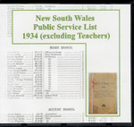 New South Wales Public Service List 1934 (excluding Teachers)
