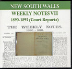 New South Wales Weekly Notes VII 1890-1893 (Court Reports)
