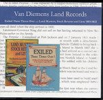 Van Diemens Land Records: Exiled Three Times Over & Land Musters, Stock Returns and Lists 1803-1822