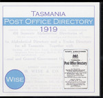 Tasmania Post Office Directory 1919 (Wise)