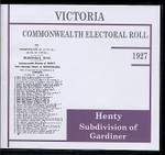 Victoria Commonwealth Electoral Roll 1927 Henty (Gardiner Subdivision) 1