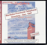 Manitoba Provincial Telephone Directory: December 1947