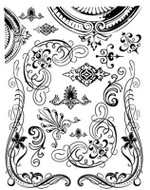 Hambly Screen Prints Rub-ons Vintage Motifs (Black)