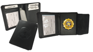 Black Leather Bi-Fold Badge wallet with hidden badge section