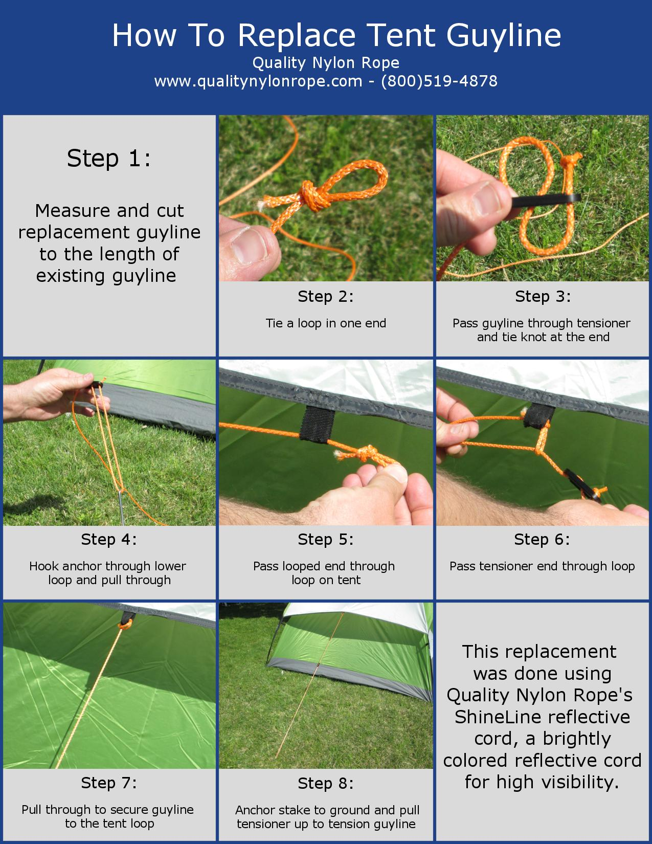 How to Replace a Tent Guyline (Infographic) - QNR  sc 1 st  Quality Nylon Rope & How to Replace a Tent Guyline (Video + Infographic) - Quality ...