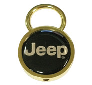 Gold Circle Jeep Keychain