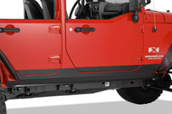 "'07-Current JKU 5"" Black PC 12-ga Steel Rocker Guards"
