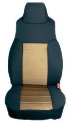 '97-'02 TJ/LJ Poly Cotton Front Seat Covers (Tan & Black)