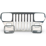 '87-'95 YJ Stainless Grill Cover Kit w/Headlight Bezels