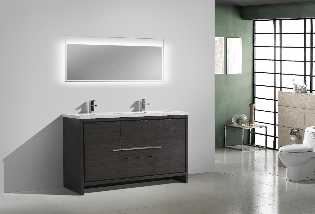 Moreno Dolce 60 Double Sink Dark Gray Oak Modern Bathroom