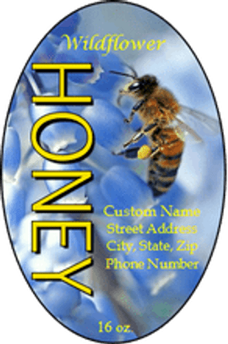Bluebell Bee Self Adhesive Custom Honey Labels/Wildflower