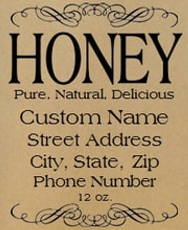 Brown Kraft Deco Self Adhesive Custom Honey Labels