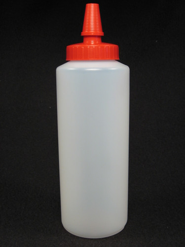 16 oz. Cylinder honey bottles - case of 300 with red hi-flo spouts