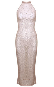 Halter Embellished Mesh Midi Dress Nude