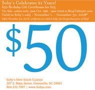 Soby's 21st Birthday Gift Certificate