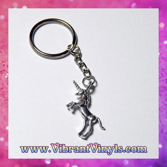Unicorn Keychain - Antique Silver - 25mm Key Ring - Gift Wrapped