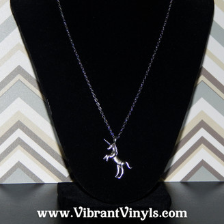Unicorn Necklace - 18 Inch Petite Antique Silver Chain - Gift Wrapped