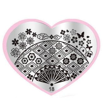 Oriental Fan Stamping Plate - Heart 18