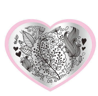 Leafy Stamping Plate - Heart 08