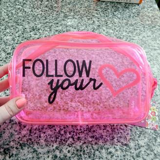 Follow Your Heart Neon Zipper Bag