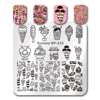 Sweet Summer Treats - Square Stamping Plate - Born Pretty X33