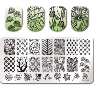 Nature - Rectangle Stamping Plate - Born Pretty L015