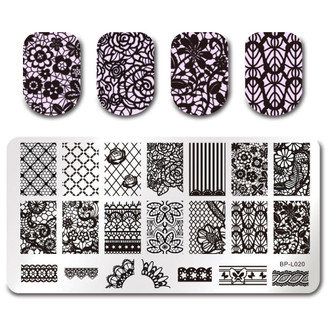 Floral Lace - Rectangle Stamping Plate - Born Pretty L020