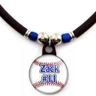 Personalized baseball necklace with your name and number