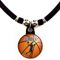 Personalized basketball slam dunk necklace with your name