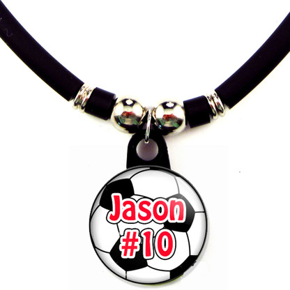 Personalized soccer ball necklace with name and number