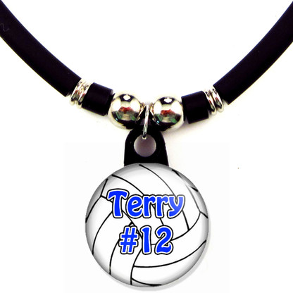 Personalized Volleyball necklace with name and number