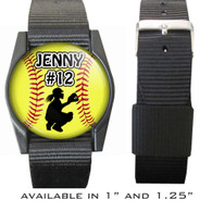Personalized Softball Catcher Bracelet/Wristband With Name and Number