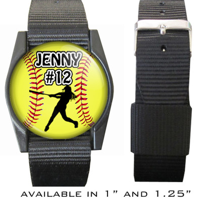 Personalized Softball Batter/Hitter Bracelet/Wristband With Name and Number