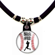 Personalized baseball outfielder necklace with your name and number