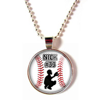Personalized cabochon glass baseball Catcher pendant necklace with your name