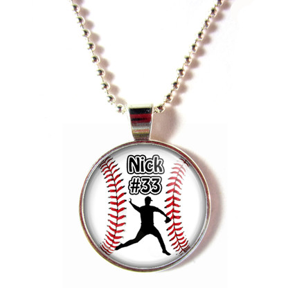 Personalized cabochon glass baseball Pitcher pendant necklace with your name