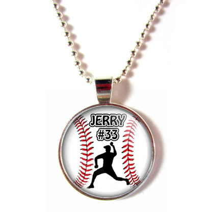 Personalized cabochon glass baseball Lefty Pitcher pendant necklace with your name