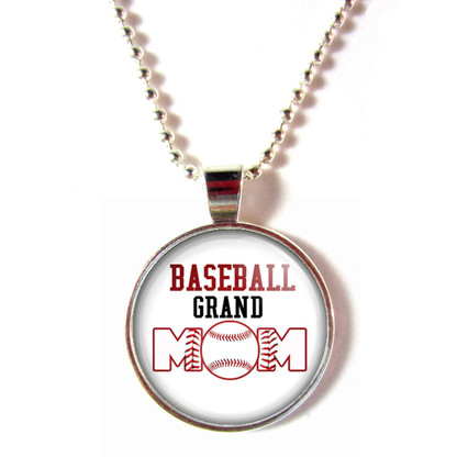 Baseball Grand Mom cabochon glass pendant necklace