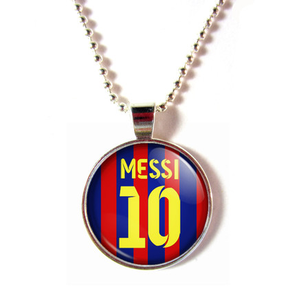Lionel Messi Cabochon Glass #10 Barcelona 2013-2014 Home Jersey Necklace