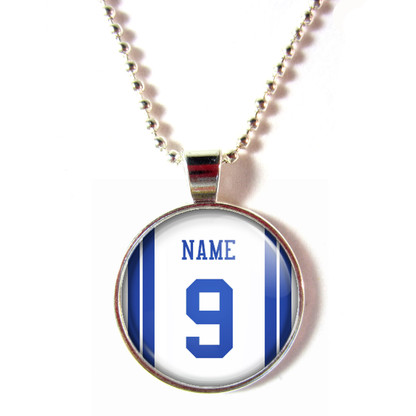 Personalized Dallas Cowboys Cabochon Glass Necklace With Name and Number