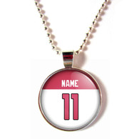 Personalized Arizona Cardinals Cabochon Glass Necklace With Name and Number