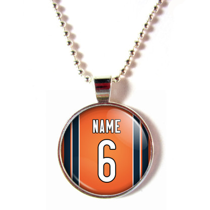 Personalized Chicago Bears Cabochon Glass Necklace With Name and Number